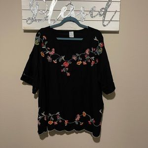 Floral embroidered blouse - fiesta